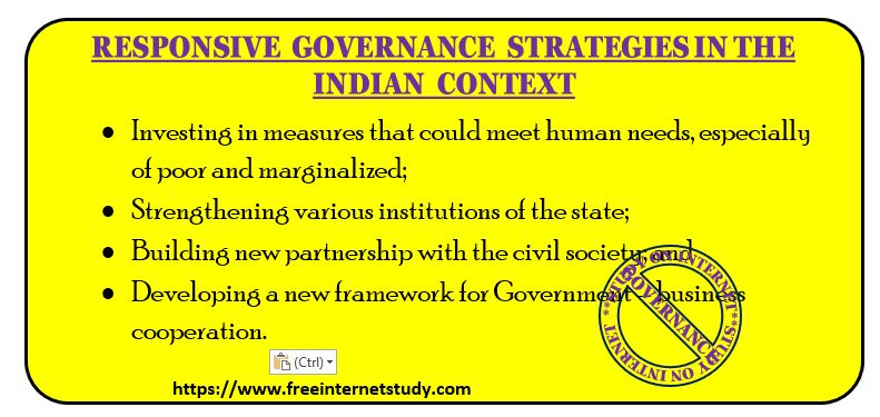 RESPONSIVE GOVERNANCE STRATEGIES in THE INDIAN CONTEXT